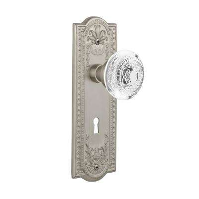 Meadows Plate Interior Mortise Crystal Egg and Dart Door Knob in Satin Nickel