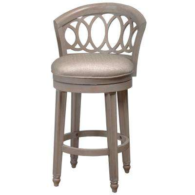Adelyn 26 in. Gold Metallic Silver Swivel Cushioned Counter Stool
