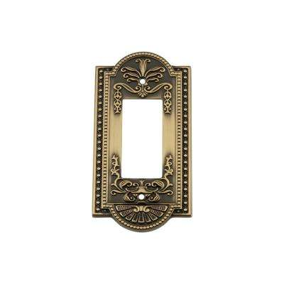 Meadows Switch Plate with Single Rocker in Antique Brass