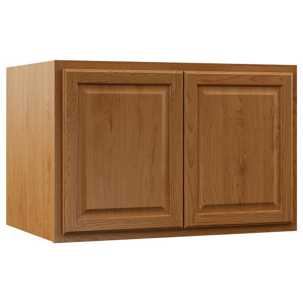 Hampton Bay Assembled 36x24x24 In Hampton Refrigerator Deep Wall Bridge Cabinet In Medium Oak