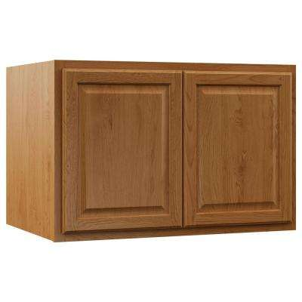 Hampton Assembled 36x24x24 in. Above Refrigerator Deep Wall Bridge Kitchen Cabinet in Medium Oak