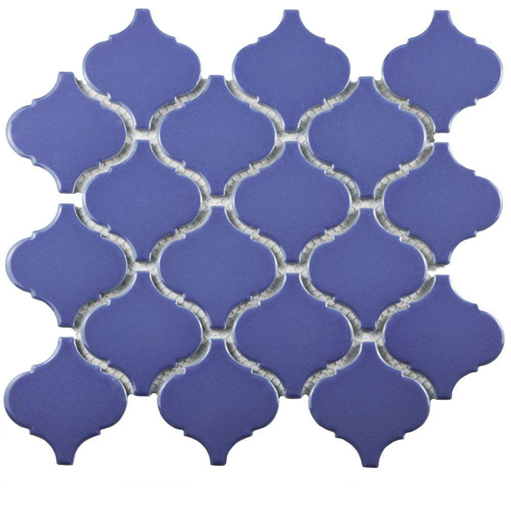Metro Lantern Glossy Blue 9-3/4 in. x 10-1/4 in. x 6 mm Porcelain Mosaic Tile