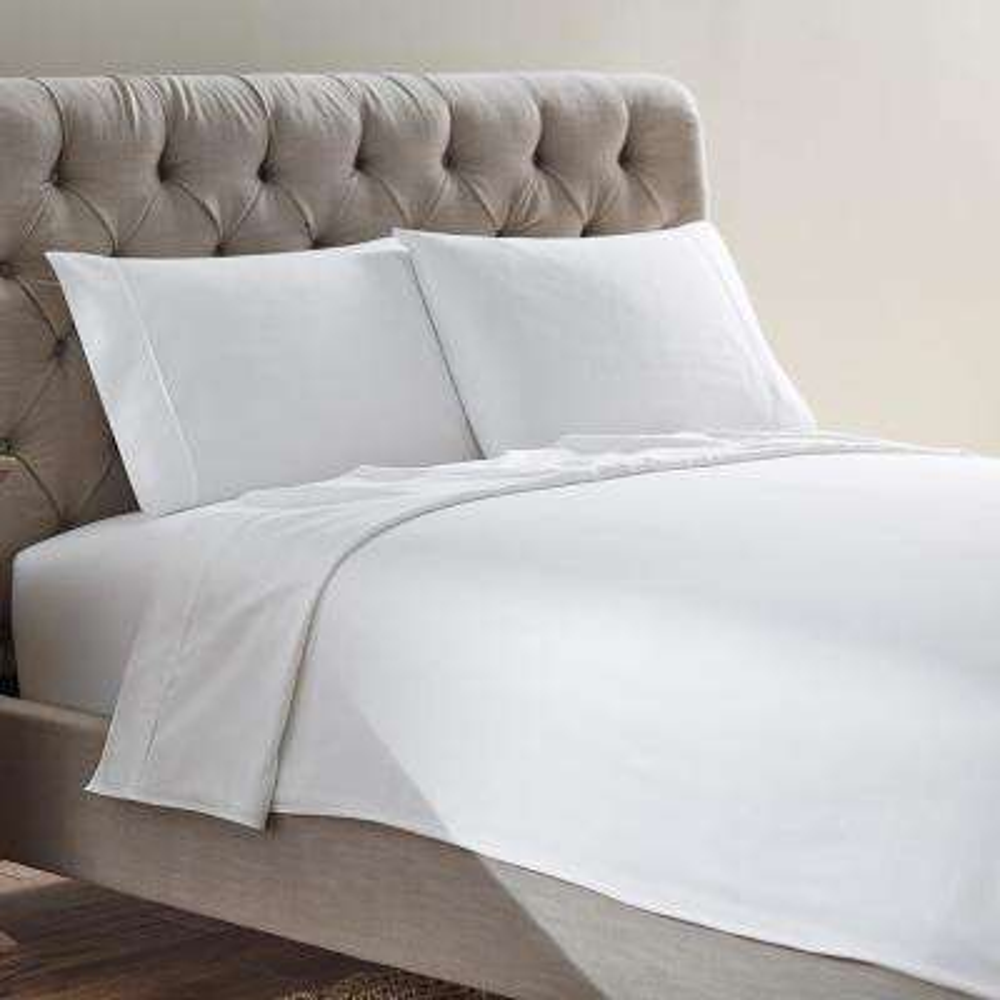 Naples 4-Piece White Cotton Queen Sheet Set