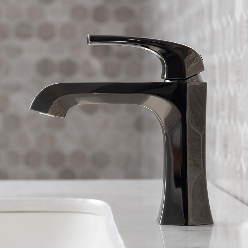 Esta Single Hole Single-Handle Basin Bathroom Faucet in Gray with Lift Rod Drain