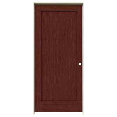 36 in. x 80 in. Madison Black Cherry Stain Left-Hand Solid Core Molded Composite MDF Single Prehung Interior Door