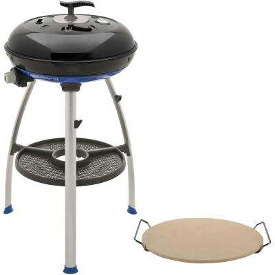 Carri Chef 2 Portable Propane Gas Grill in Black with Pot Ring, Grill Plate, Pizza Stone, and Split Grill/Griddle