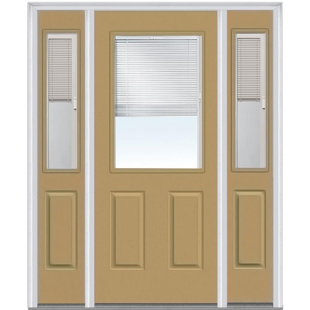 60 in. x 80 in. Internal Blinds Left-Hand 1/2-Lite Clear Painted