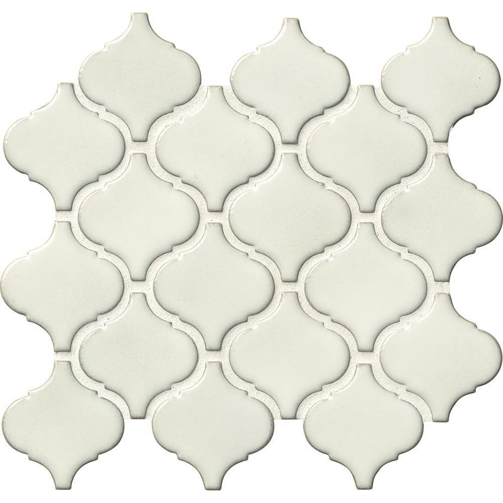 Bianco Arabesque 9.84 in. x 10.63 in. x 6 mm Glazed Ceramic Mesh-Mounted Mosaic Tile (10.95 sq. ft. / case)