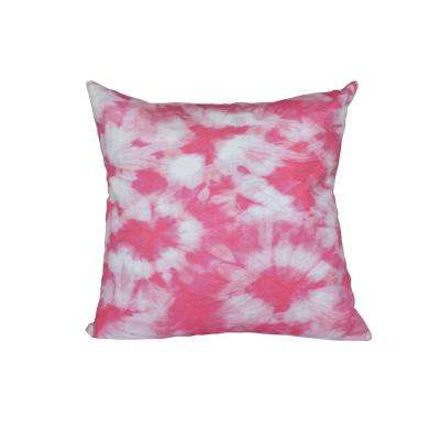 16 in. x 16 in. Pink Chillax Geometric Print Pillow