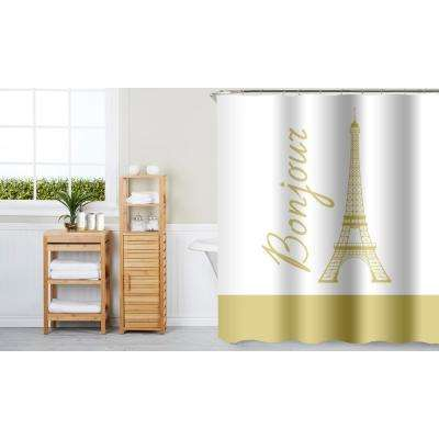 Bonjour Gold 16-Piece Ceramic Accessories and Shower Curtain Set