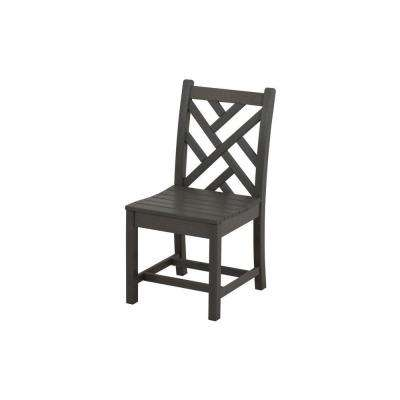 Chippendale Slate Grey All-Weather Plastic Outdoor Dining Side Chair