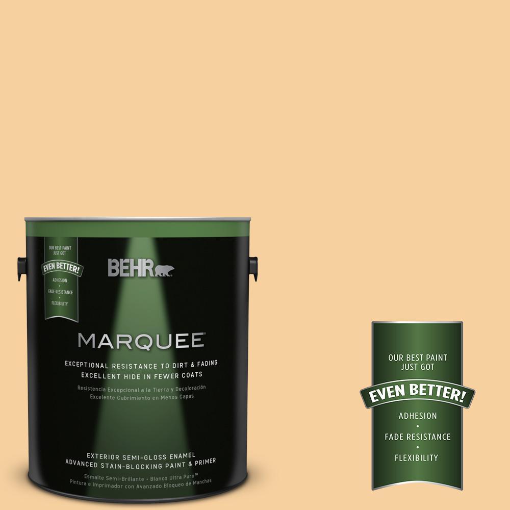 BEHR MARQUEE 1-gal. #320C-3 Honey Butter Semi-Gloss Enamel Exterior Paint