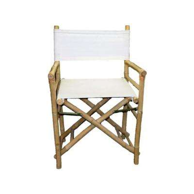 19 in. L 23 in. W 35 in. H Bamboo Director Chairs, White Canvas (Set of 2)