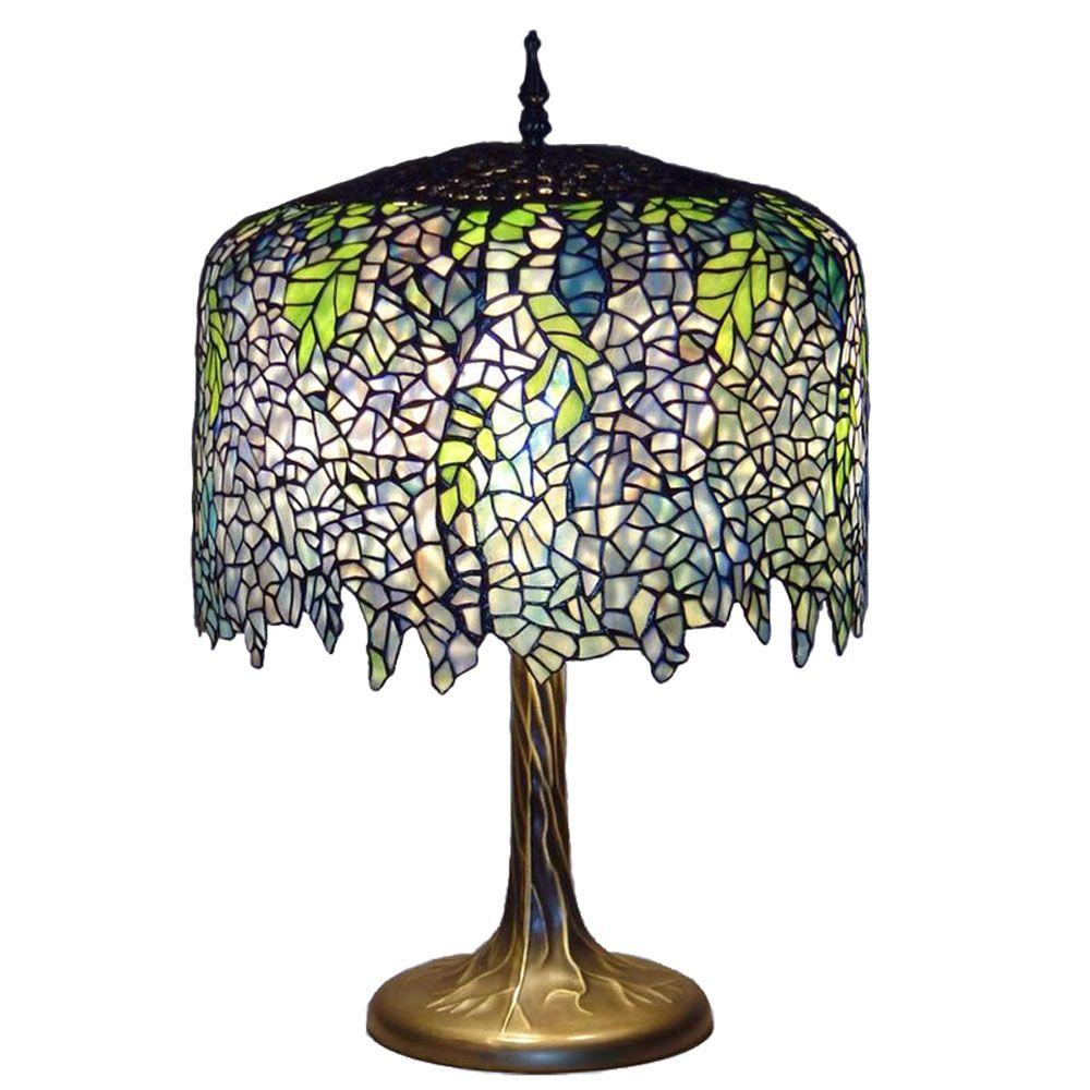 Serena D'italia Tiffany Wisteria 27 in. Bronze Table Lamp with Tree Trunk Base