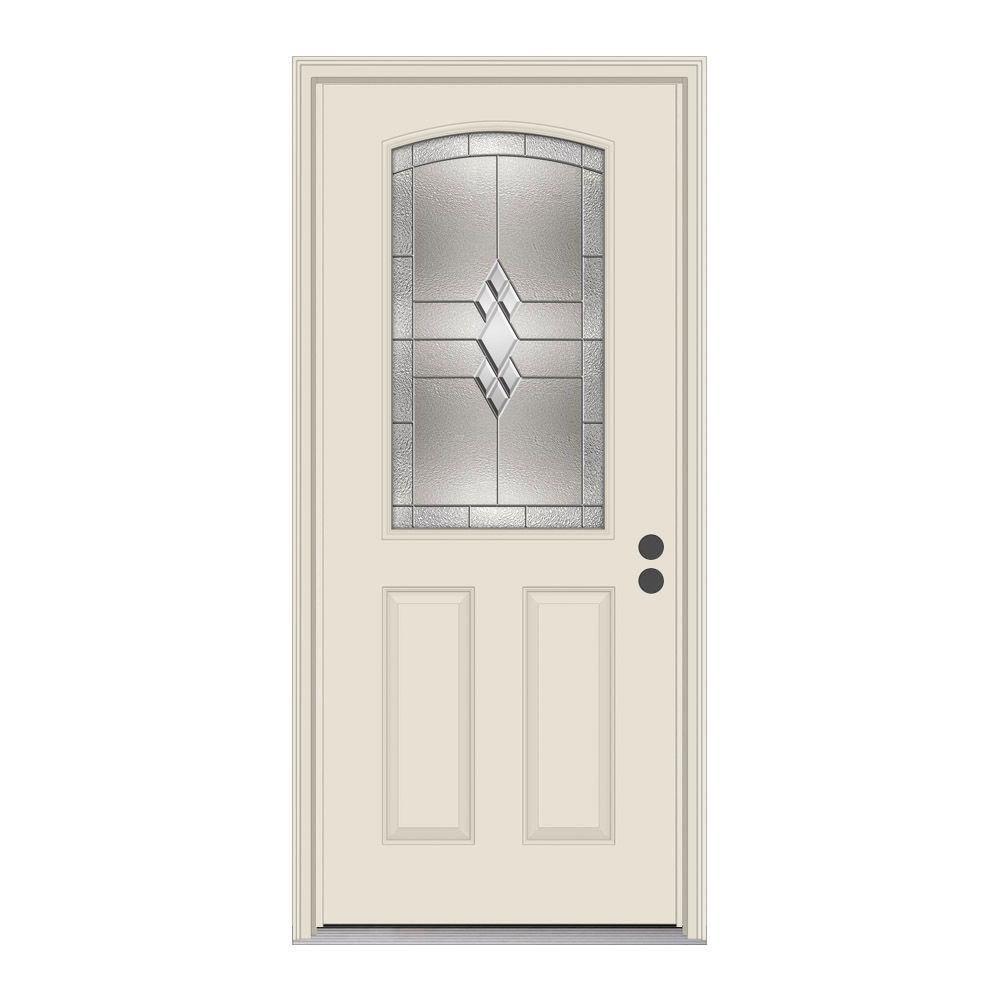 36 in. x 80 in. 1/2 Lite Kingston Primed Steel Prehung Left-Hand Inswing Front Door w/Brickmould