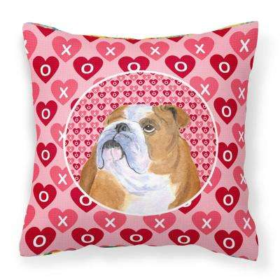 14 in. x 14 in. Multi-Color Lumbar Outdoor Throw Pillow Bulldog English Hearts Love Valentine's Day
