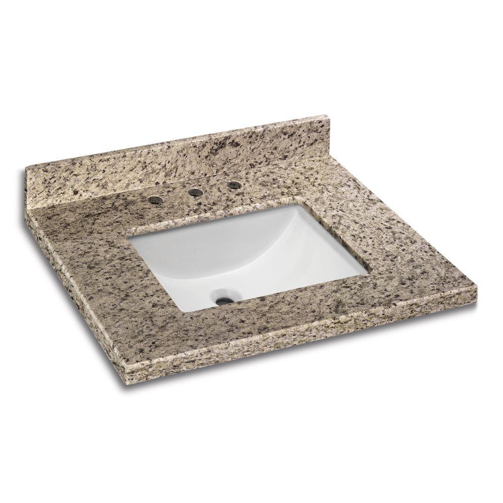 31 in. W x 22 in. D Granite Vanity Top in Giallo Ornamental with White Single Trough Basin