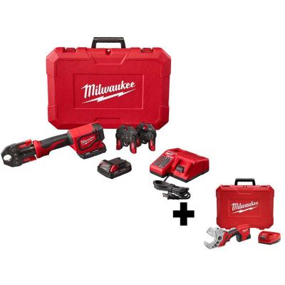 M18 18-Volt Lithium-Ion Cordless Short Throw Press Tool Kit with 3 PEX Crimp Jaws with M12 PVC Shear Kit
