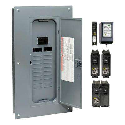 Homeline 100 Amp 20-Space 40-Circuit Indoor Main Breaker Plug-On Neutral Load Center with Cover, Surge SPD - Value Pack