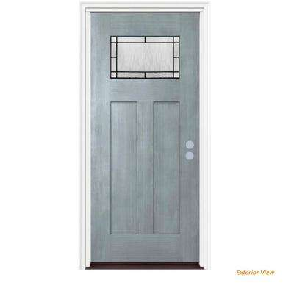 36 in. x 80 in. 1 Lite Craftsman Wendover Stone Stained Fiberglass Prehung Left-Hand Inswing Front Door w/Brickmould