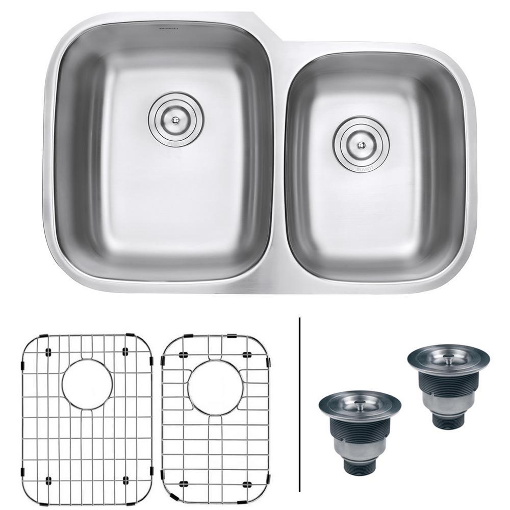 60/40 Undermount 16 Gauge Stainless Steel Double Bowl Kitchen