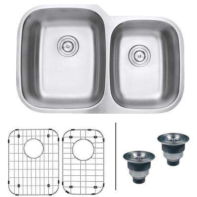 32 in. 60/40 Undermount 16-Gauge Stainless Steel Double Bowl Kitchen Sink