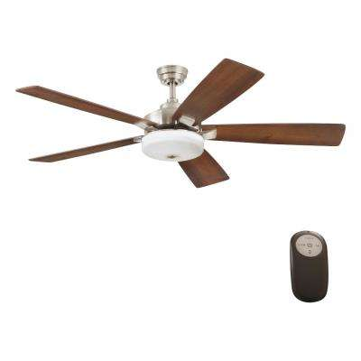 Cameron 54 in. Integrated LED Indoor Brushed Nickel Ceiling Fan with Light Kit and Remote Control