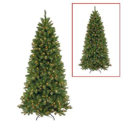 7.5 ft. Lehigh Valley Slim Pine Artificial Christmas Tree with Dual Color LED Lights