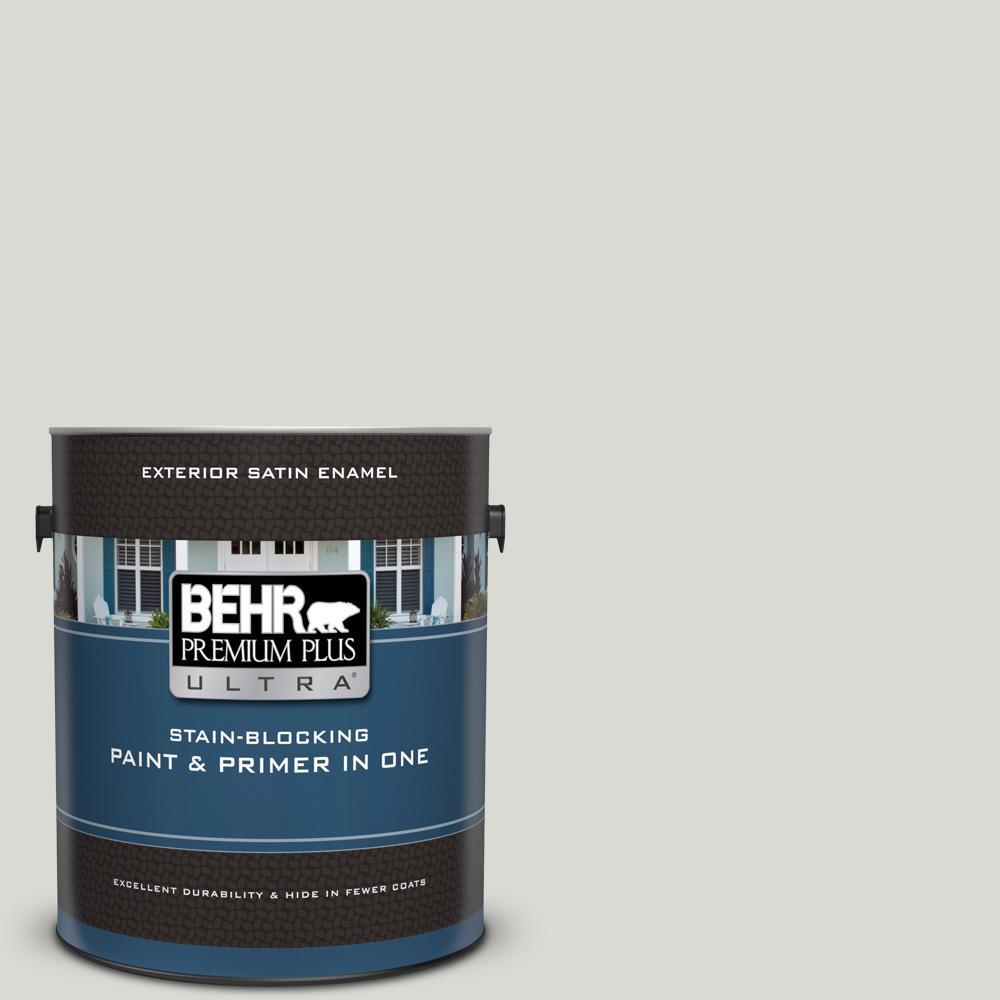 72c5eb78598 BEHR Premium Plus Ultra 1 gal. #GR-W11 Silver Ash Satin Enamel ...