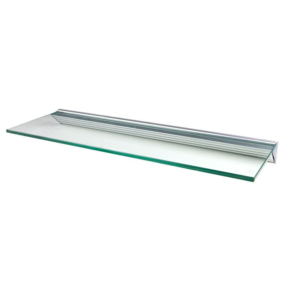 Wallscapes Glacier Clear Glass Shelf with Silver Bracket Shelf Kit ...
