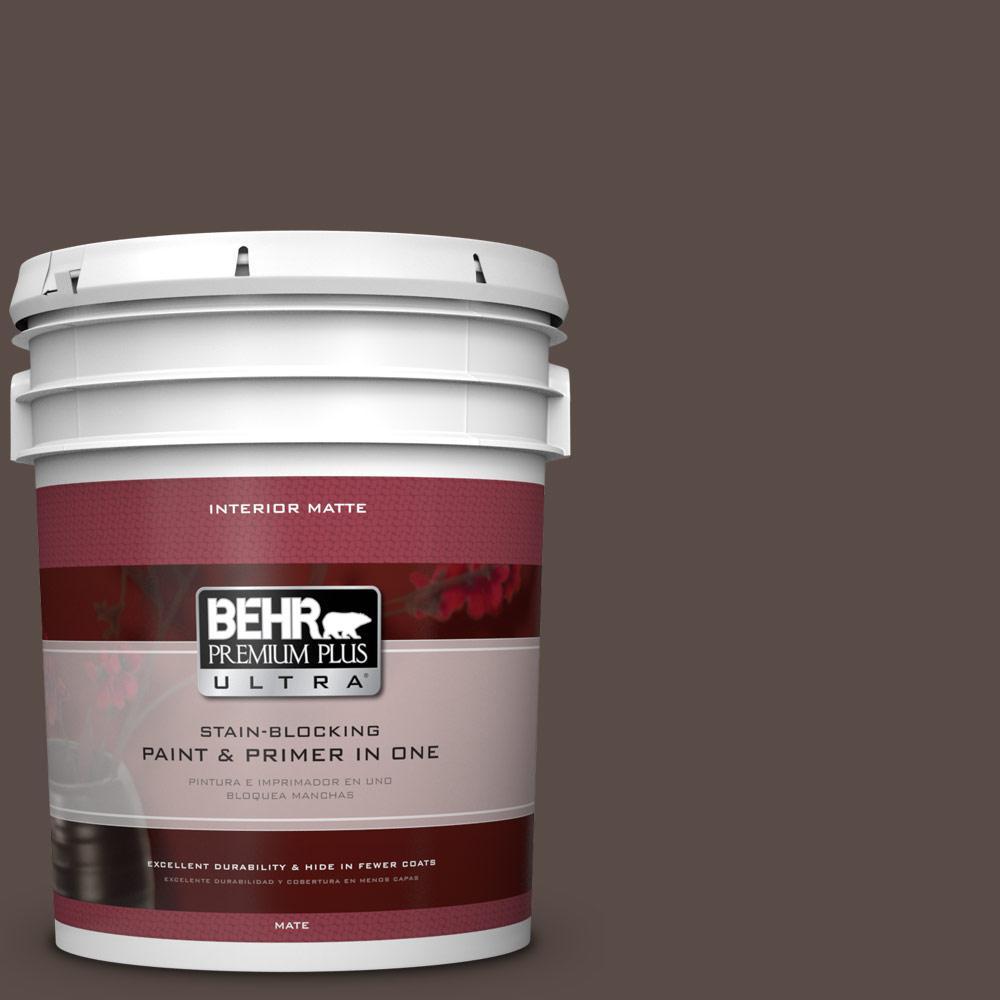 BEHR Premium Plus Ultra 5 gal. #PPU5-19 Dark Truffle Flat/Matte Interior Paint