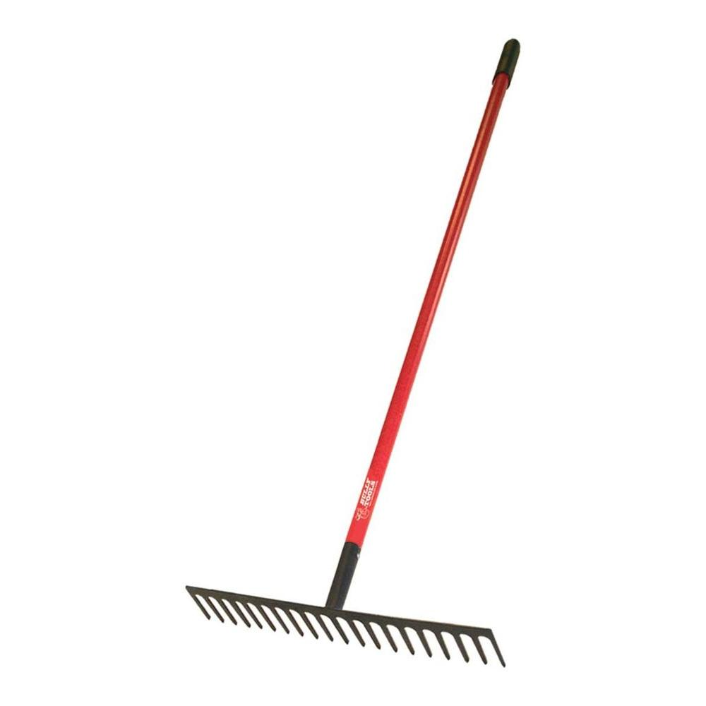 4 lb. 18-Tine Stone Rake with Fiberglass Handle and 7-Gauge Steel