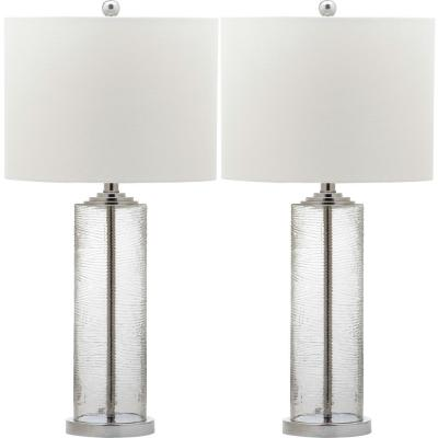 Grant 29 in. Clear Textured Table Lamp with White Shade (Set of 2)