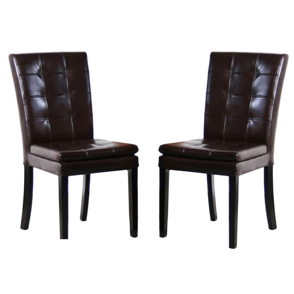 Set Of 2 Dining Room Furniture Tufted Brown Leather Dining: Noble House Crayton Chocolate Brown Leather Tufted Dining