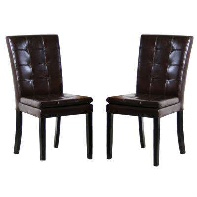 Crayton Chocolate Brown Leather Tufted Dining Chair (Set of 2)