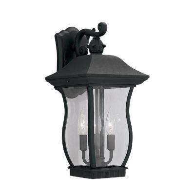 Chelsea 3-Light Black Outdoor Wall-Mount Lantern