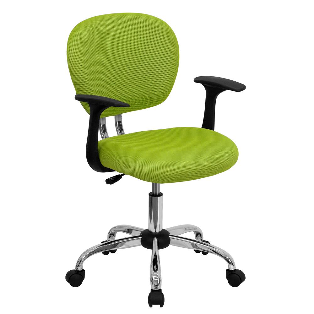 Flash Furniture Mid Back Apple Green Mesh Swivel Task Chair With Chrome  Base And Arms
