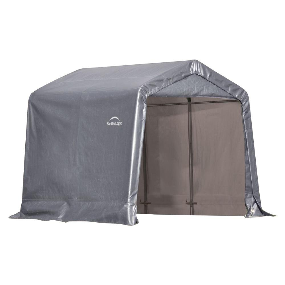 ShelterLogic 8 ft. W x 8 ft. D x 8 ft. H Peak-Style Steel Shed-In-A-Box Storage Shed in Grey with Patented Stabilizers