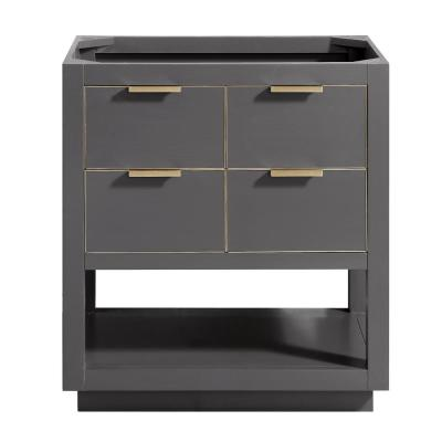 Allie 30 in. W x 21.5 in. D x 34 in. H Bath Vanity Cabinet Only in Twilight Gray with Gold Trim