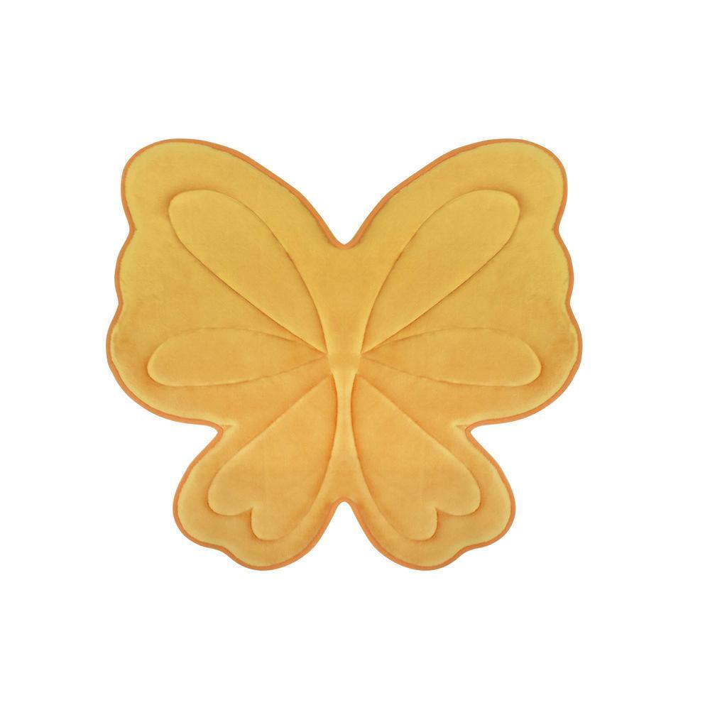 Butterfly Banana Yellow 30 in. x 30 in. Memory Foam Bath Mat