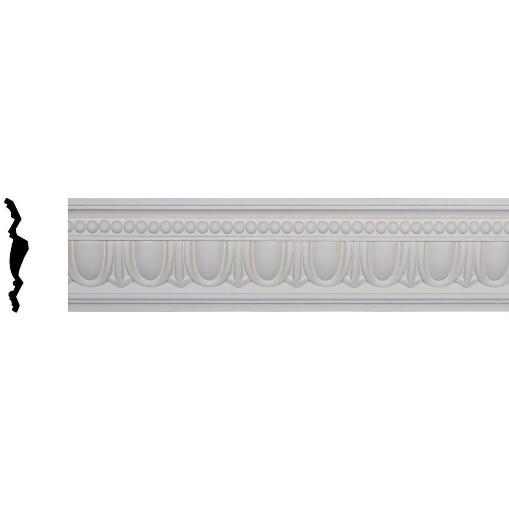 Ekena Millwork 5 in. x 7-1/4 in. x 96-1/8 in. Polyurethane Egg and Dart Crown Moulding