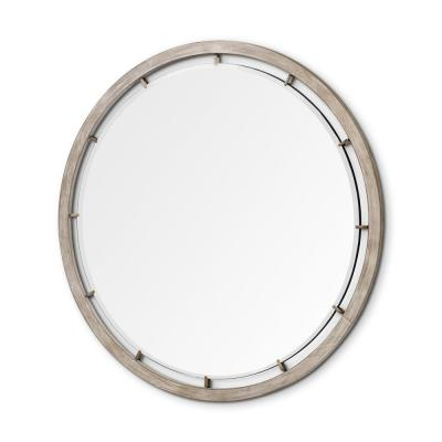 Large Round Brown Casual Mirror (53.9 in. H x 53.9 in. W)