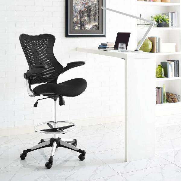 MODWAY Charge Drafting Stool in Black EEI-2286-BLK
