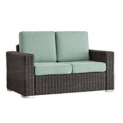 Camari Charcoal Square Arm Wicker Outdoor Loveseat with Blue Cushion