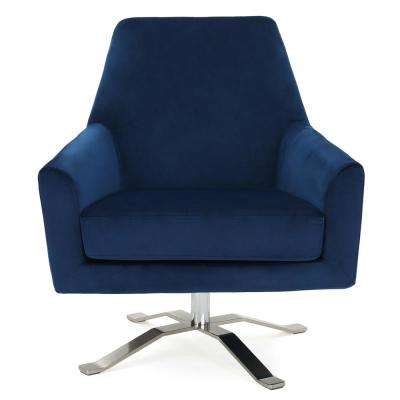 Ailis Navy Blue New Velvet Swivel Club Chair