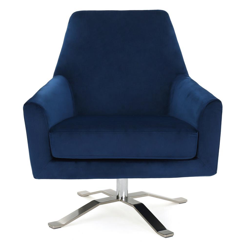 Navy Velvet Club Chair: Noble House Ailis Navy Blue New Velvet Swivel Club Chair