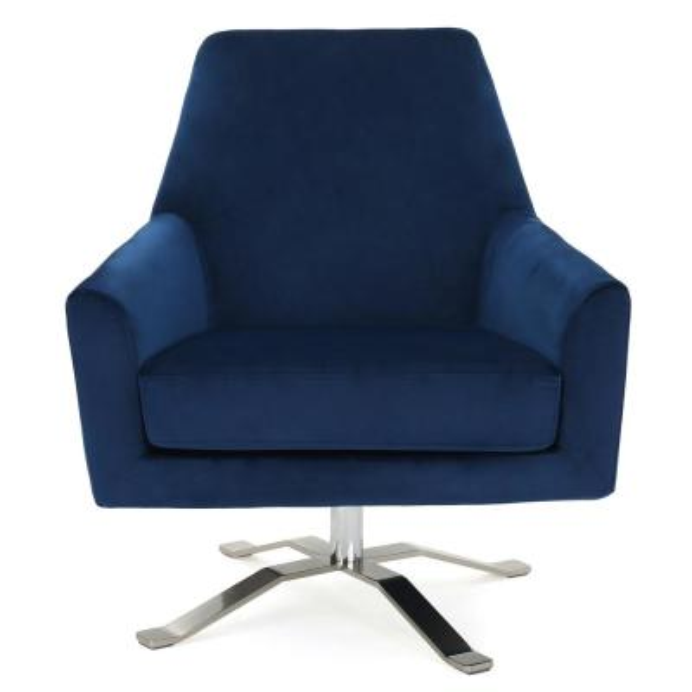 Ailis Navy Blue New Velvet Swivel Club Chair