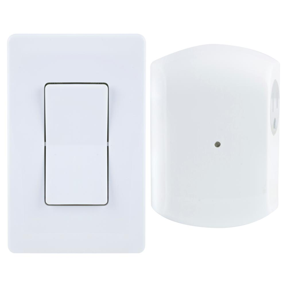 Wireless Remote Wall Switch Light Control with Grounded Outlet Receiver -