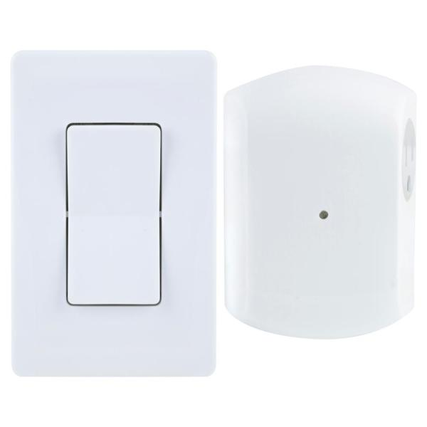 Wireless Remote Wall Switch Light Control with Grounded Outlet Receiver