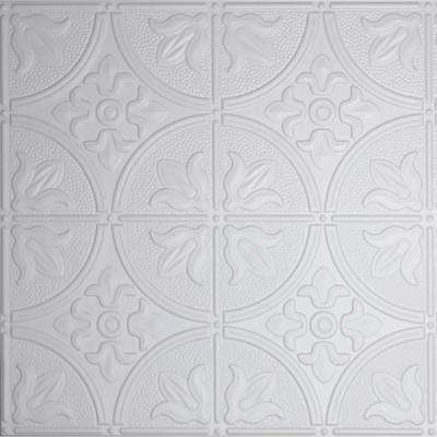 Dimensions 2 ft  x 2 ft  White Tin Ceiling Tile for Refacing in T-Grid  Systems